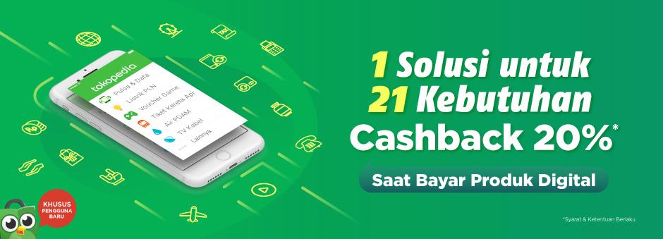 Cashback 20% Pembayaran Produk Digital Tokopedia