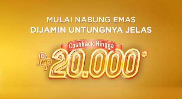 Nabung Emas Dapat Bonus Cashback s.d Rp20.000 dari Tokopedia Emas