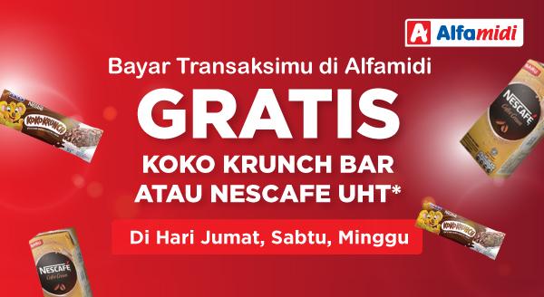 Gratis Koko Krunch Bar atau Nescafe UHT Tiap Bayar di Alfamidi