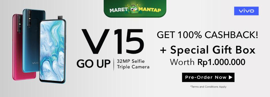 Vivo V15 dengan Pop Up Kamera 32 MP, Dapatkan Kesempatan Cashback 100%