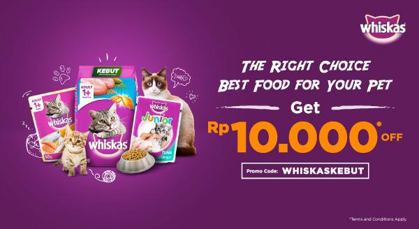Dapatkan Diskon 10 Ribu untuk Pembelian Produk Whiskas