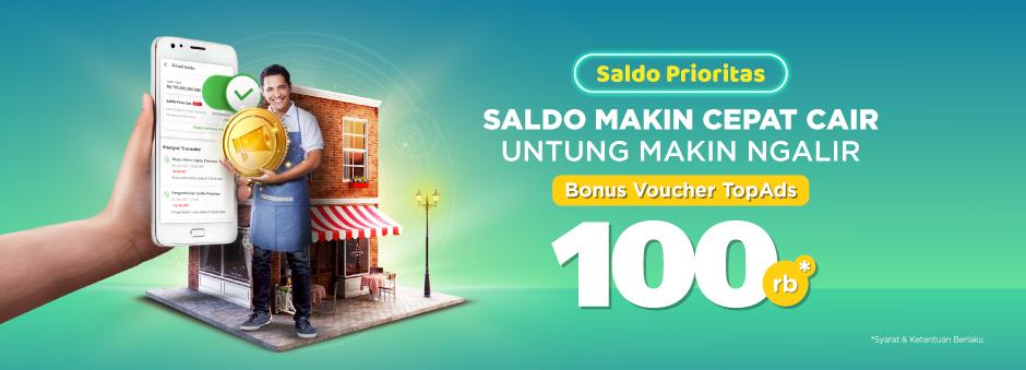 Aktifkan Saldo Prioritas, Nikmati Bonus TopAds 100rb Buat Seller!