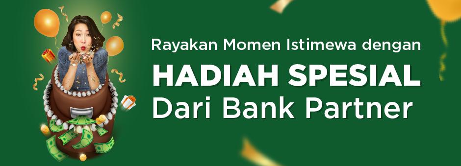 Spesial Ulang Tahun, dapatkan Cashback dan Diskon hingga Rp217,000 dari Bank Partner.