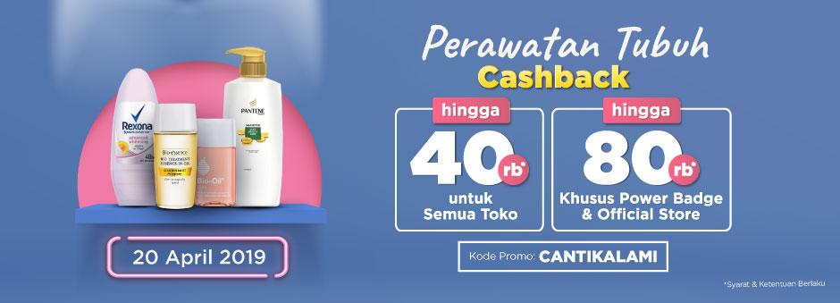 Belanja Sekarang! Ada Double Cashback up to Rp80.000 untuk Kategori Perawatan Tubuh | Tokopedia