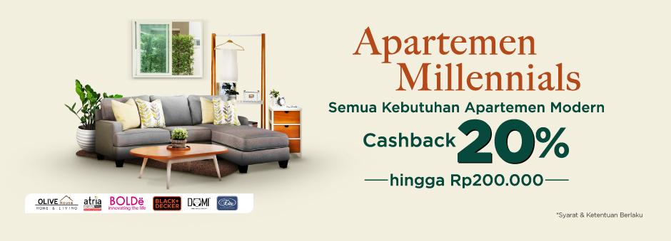 Makin Nyaman Tinggal dengan Apartemen Millennials, Cashback 20% hingga Rp200.000