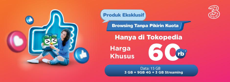 Cuma di Tokopedia Dapatkan Paket Data Tri Eksklusif!