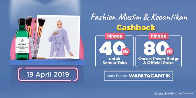 Belanja Sekarang! Ada Double Cashback up to Rp80.000 untuk Kategori Fashion Muslim & Kecantikan | Tokopedia