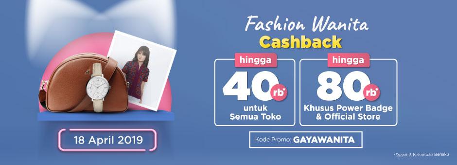 Belanja Sekarang! Ada Double Cashback up to Rp80.000 untuk Kategori Fashion Wanita | Tokopedia