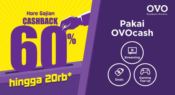 Beli Deals, Voucher game, Voucher Streaming pakai OVO Cash, Cashback 60% hingga 20 ribu!