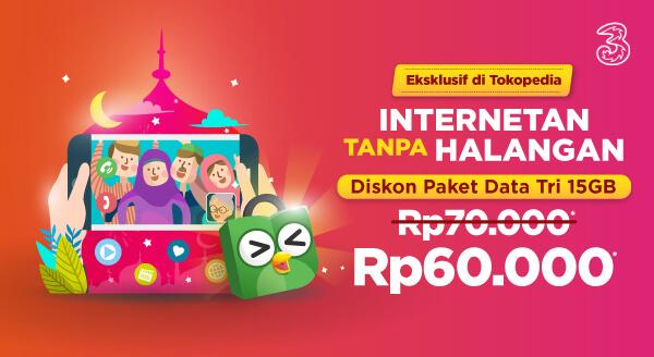 Diskon Rp10.000 untuk Top-up Paket Data Tri 15GB