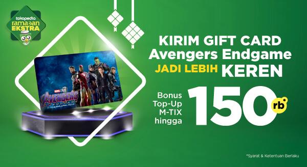 Kirim Tokopedia Gift Card Edisi Avengers Endgame, Bonus Voucher Potongan Top-up M-Tix hingga 150rb!