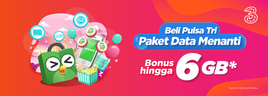 Top-up Pulsa Tri Dapat Paket Data