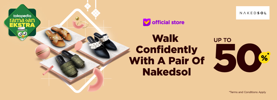 Pakai Sepatu Nakedsol, Supaya Tampil Lebih Pol. Diskon s.d 50%