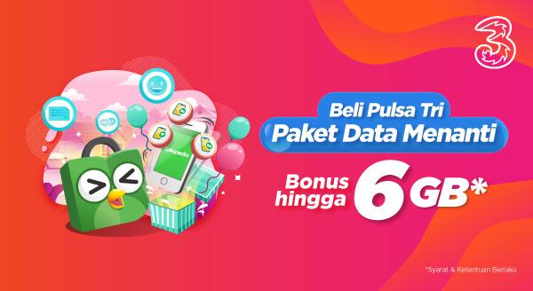 Top-up Pulsa Tri Dapat Paket Data