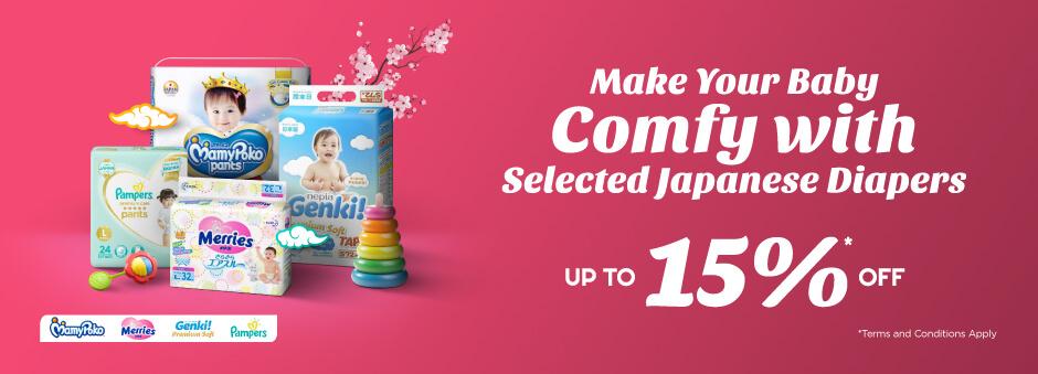 Nikmati diskon hingga 15% untuk Berbagai Popok dari Jepang. Hanya di Official Store!