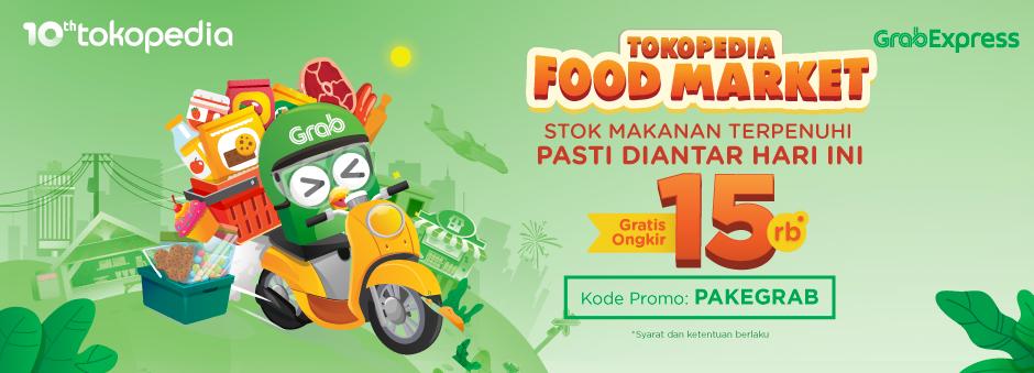 Tokopedia Food Market, Gratis Ongkir Hingga Rp15.000 dari Grab Express