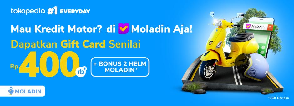 Kredit Motor dengan Moladin, Dapat Gift Card 400k dan Bonus 2 Helm Moladin