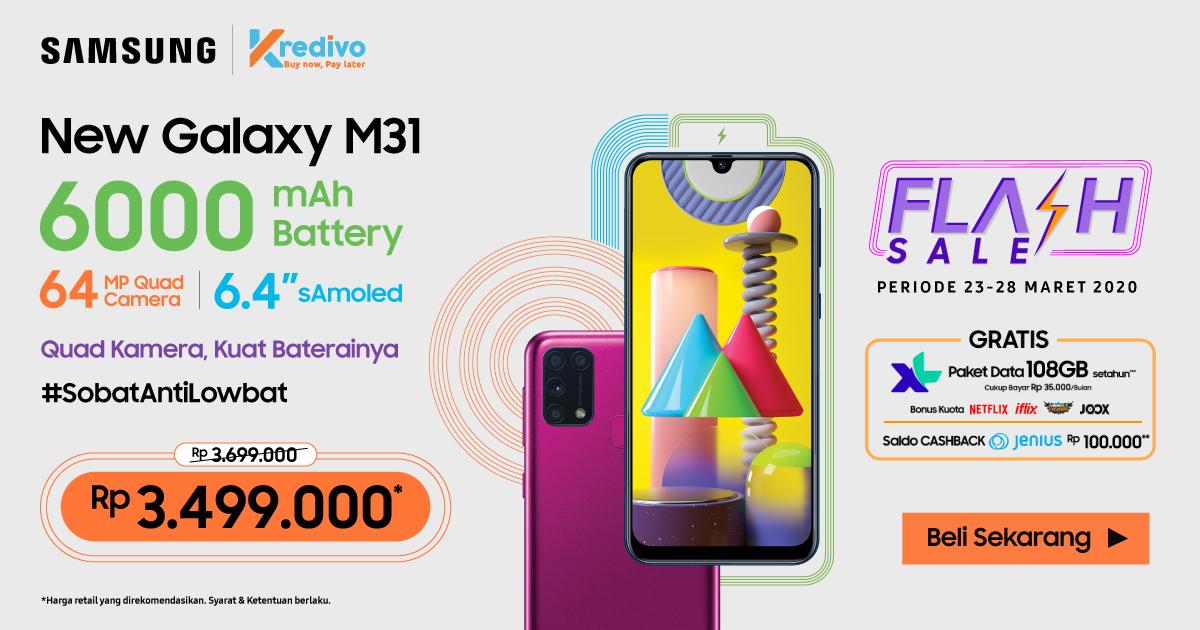 Dapatkan Diskon Rp300.000 untuk beli Samsung M31 di Tokopedia!