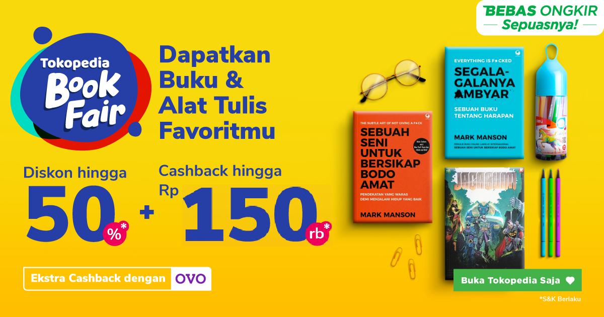 Tokopedia Book Fair Diskon s.d. 50% + Cashback Hingga Rp30.000