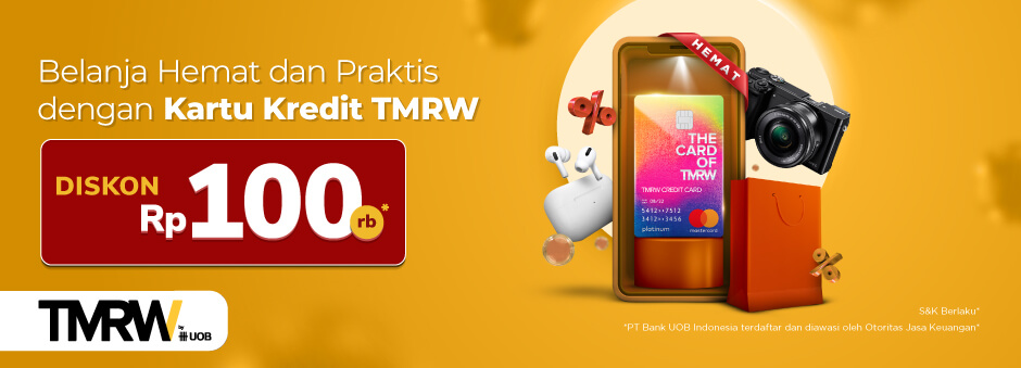 Promo Kartu Kredit TMRW by UOB di Tokopedia : Belanja Apa Saja Dapat Kupon Diskon Rp 100.000!