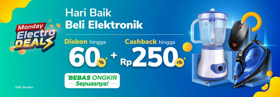 Promo Monday Electrodeals Cashback Hingga 250rb di Tokopedia