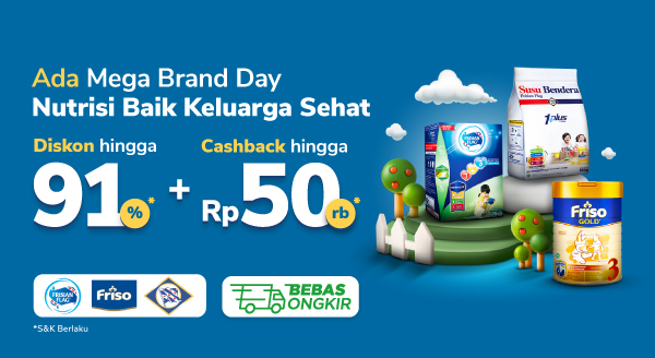 Ada Mega Brand Day Nutrisi Baik Keluarga Sehat Diskon Hingga 91% + Cashback Rp50rb*