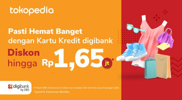 Promo Kartu Kredit digibank by DBS di Tokopedia Dapat Kupon DIskon Belanja s.d Rp1,65juta!