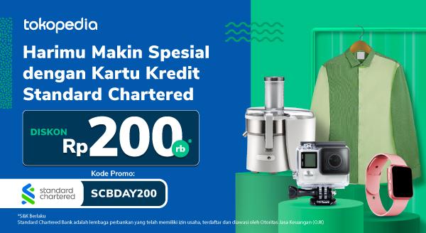Diskon Rp 200.000 Belanja Harian Pakai Kartu Kredit Standard Chartered di Tokopedia