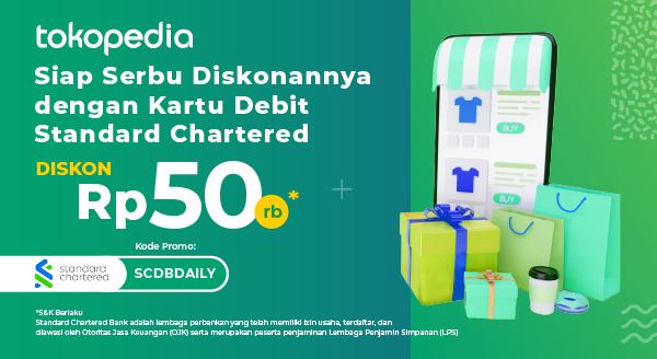 Pakai Kartu Debit Standard Chartered Setiap Hari di Tokopedia dan Dapatkan Potongan Belanja Rp 50ribu!