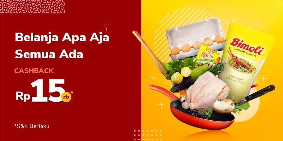 Promo Produk Makanan dan Minuman Cashback 50% hingga Rp15.000