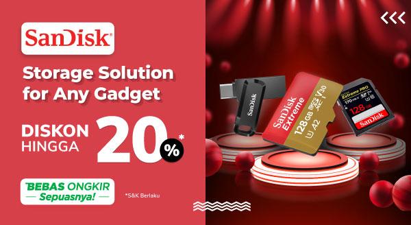 Leluasa Simpan Data dengan SanDisk, Diskon s.d 20% + Cashback s.d Rp20 Ribu