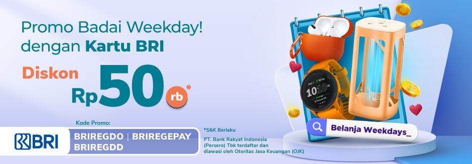 Diskon Belanja 50ribu Khusus hari Senin, Selasa, Rabu dengan Debit Online, Direct Debit, dan e-Pay BRI