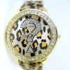 JAM TANGAN GUESS LEOPARD LEATHER ROUND (GOLD)