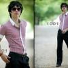 Kemeja Lengan Pendek Garis Vertikal S.1014 Korean Style Size L - XL
