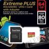 Sandisk Microsdxc Extreme Plus 64GB Class 10 UHS-1 (80 Mbps) MICRO SDXC