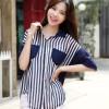 (Baju Impor)  BJ7GSAT1B21 Striped Big SIze Blouse - Kemeja Motif Garis Garis # Fit to Size L