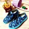 Sepatu Kets DOcmart Dokmart Wanita Bunga Biru SUplier Sepatu Firsthand