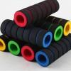 Grip Spons / Busa untuk Stang Sepeda Motif Hitam Strip Warna (Isi 2)