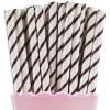 paper straw, sedotan kertas, stik kue, lolipo -dark brown strip-10 pcs