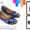 Flat shoes ethnic motiveBlue SH005-2