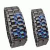 JAM TANGAN BLACK BLUE Tokyo Flash Samurai Iron Metal Case LED WATCH