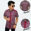 baju batik pria distro pendek bunga maroon murah
