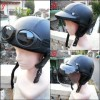 Helm Chips Retro Klasik Black Solid + Kacamata + Pet + Kaca Bogo Asli