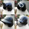 helm pilot retro clasic hitam polos + kaca mata google