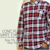 Kemeja Long Flannel White Check Red !