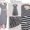 Midi Dress Import, Plain Stripe, Soft Cotton, Cina, Lookbook, Murah