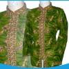 blouse batik hijau 1004 kerah sanghai