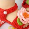 Sepatu Prewalker Bayi Perempuan Rajut Handmade Rose Flower