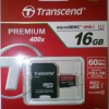 Micro Sd HC Transcend 16 Gb Class 10 Uhs1 Speed 60MBpS