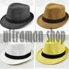 Fedora hat jerami light yellow